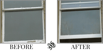 pictures of a window before and after restoration by Morningside Windows